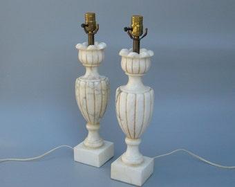 Carved Italian Alabaster Lamps 1930s Vintage Pair Hollywood Regency Style