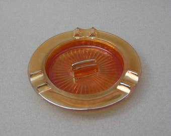 Iridescent Marigold Carnival Glass Ashtray with Matchbook Holder Vintage Art Deco Peach Glass