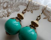 50% Off Sale, Queen of the Nile, Vintage Bead Earrings, Green, Gold