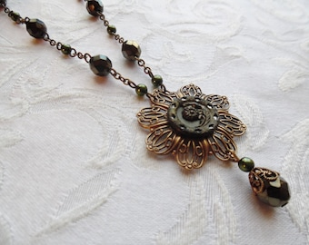 Antique Button Necklace with Earrings, Olivine
