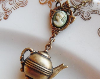 50% Off, Time for Tea, Cameo and Teapot Necklace, Brass Ox, Sage Green,Ivory
