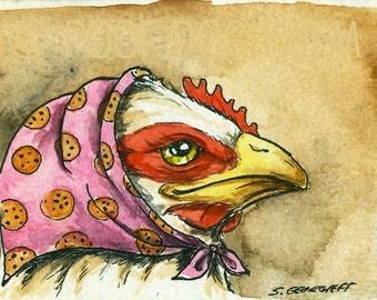 "Greta ""Cookie""  Hen  - Original ACEO Painting"