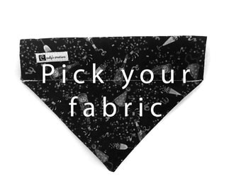 Bandana fits over the collar, Pick your fabric