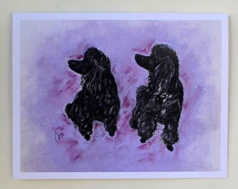 2 Poodles Standard Poodle Dog Art Note Cards By Cori Solomon