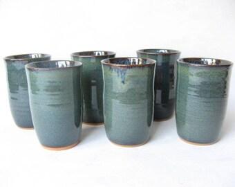 Set of Pottery Tumblers, Ceramic Glasses, Stoneware Tumblers, Set of 6,  Handmade Tumblers,