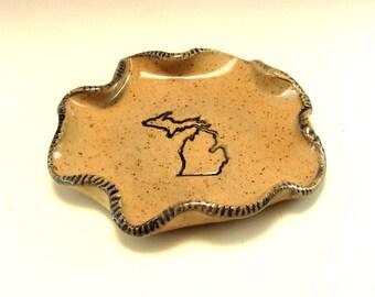Pottery Spoon Rest/Change Holder/Candle Holder/Love Michigan Spoon Rest/Love Michigan