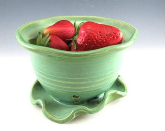 Berry Bowl/Colander/Berry Basket for One or Two with attached saucer