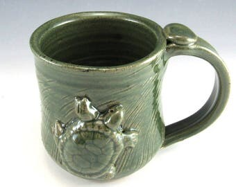 Hand Made Pottery Turtle Mug/Pottery Turtle Cup 8-10 Ounce