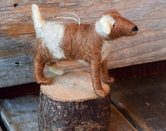 Friendly Mutt - Needle Felted Dog Christmas Ornament