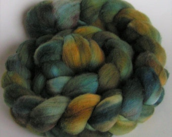 Merino Fiber Top Roving Fine Hand Painted TEALICIOUS OOAK Spin Felt Craft 4 ounces