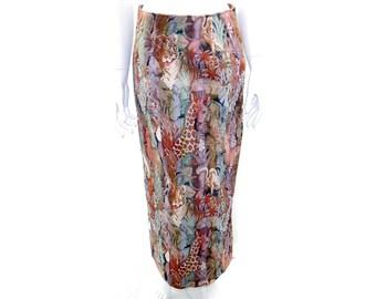 Vintage Animal Print Tapestry Skirt // High Waist Floral Hippie Boho Skirt //  Retro Long Winter Skirt// Size S // 138