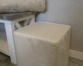 Ottoman Slipcover, Piping, Linen Slipcover, Ottoman Slip Cover, Custom, Cube, Bench, Ottoman Slipcover Square, Harmony