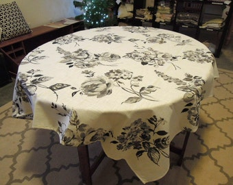 Black and Grey Floral Tablecloth, Cotton, Table Linens, 52""