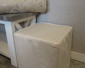 Ottoman Slipcovers with Piping, Custom, Cube, Bench, Ottoman Slipcover, Harmony Fabric Line