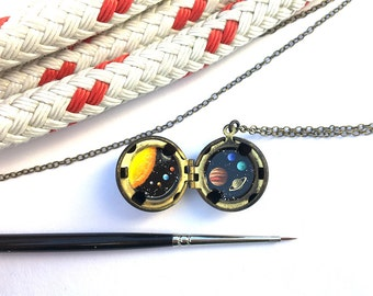 Solar System Necklace, Hand-painted in Oil, Miniature Universe in Brass Ball Locket