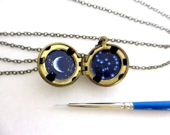 Orion Mini Oil Painting Necklace, Constellation with Crescent Moon Locket Brass Ball