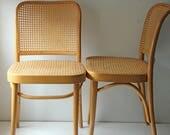 A pair of Josef Hoffmann 'Prague' cane bentwood dining chairs