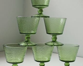 6 Vintage green footed dessert / ice cream glasses