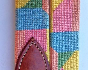 Petit Needlepoint Belt 90s Size 32 Handmade Leather Belt Geometric Preppy Belt