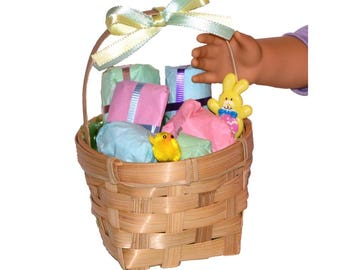 """Easter Basket With 6 Gifts to Open - Made to Fit American Girl / 18"""" Doll - DOLL ACCESSORIES Set"""