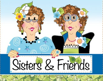 "AP6.21 - Sisters & Friends - 6"" Fabric Art Panel"