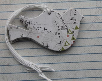 18 Map Bird Tags black/white patterned paper over chipboard prestrung