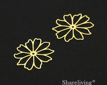 Exclusive - 6pcs Raw Brass Filigree Flower Charm / Pendant,  Fit For Necklace, Earring, Brooch  - TG325