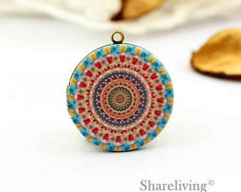 1pcs Vintage Pattern  Necklace, Antique Bronze Brass Locket Charm Pendant 32mm 25mm 20mm Locket - HLK143N