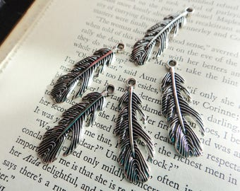 Silver Feather Charms-Silver Tone Bird Feather Charm Pack, Feather Pendants- Pack of 20