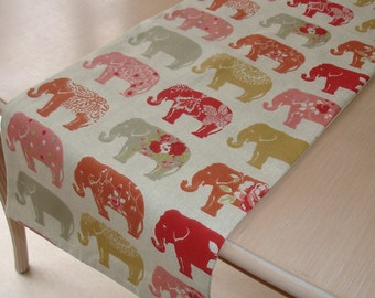 """Elephant Table Runner 72"""" Red Ochre Saffron Pink and Grey Gray Elephants 6ft Piano Topper Decorative 180cm Long"""