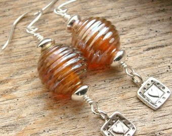 HONEY - Handmade Lampwork, Sterling Silver Earrings