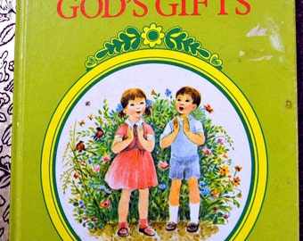 """Vintage Children's Book """"A Book of God's Gifts"""" Little Golden Book Last Minute Gift"""