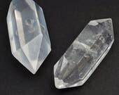 2 pcs double terminated quartz beads, natural point clear crystal Herkimer semiprecious stone 35mm