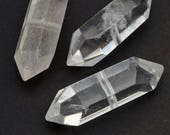 Double terminated quartz beads, natural point clear crystal Herkimer semiprecious stone 30mm, 3 pcs