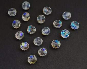 18 pcs vintage small clear AB Swarovski crystal beads, faceted round article 199 6mm