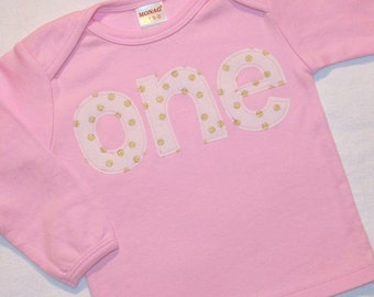 Girls First Birthday Pink ONE Shirt in Gold Polkadots - 12-18 month long sleeve