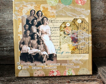 Train Up A Child  10 x 10 inch altered mixed media collage art canvas and embellishments