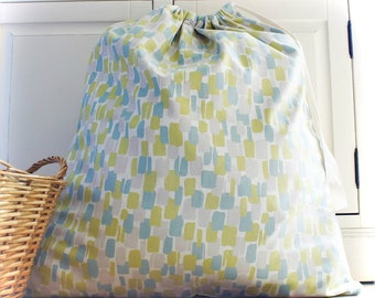 Cotton Laundry Bag in Lime Green, Grey & Teal Shoe Travel Lingerie Drawstring Bag