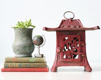 Vintage Red Pagoda, Iron Red Bamboo Pagoda Lantern