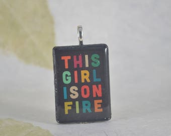 THIS GIRL Is On FIRE Upcycled Rumikub Pendant - Charm - Black - Colorful - Resin Pendant