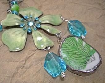 Mermaid Green Blue Beachy Necklace Earrings Set Rope Statement Beaded Mixed Media