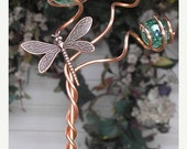 XMAS DELIVERY Dragonfly/Butterfly Garden Plant Stake - Metal Sculpture - Glass Copper Art - Yard Lawn Outdoor Pond Decor Green