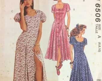 UNCUT Easy McCall's 6506 Misses' Dress  Vintage 90's Sewing Pattern  Size 6-10 Bust 30-32 inches Complete Uncut FF