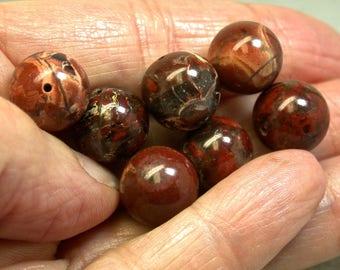 VINTAGE BRECCIATED JASPER Beads 12mm pkg6 rb70
