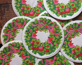 Vintage Hallmark Holiday Christmas Wreath Paper Coasters - Set of 12 - Kitsch Coasters, Hallmark Coasters, Christmas Coasters, Cute Kitsch