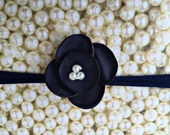 Preemie Headband, Navy Baby Headband, Small Bows, Baby Bows, Newborn headbands, Nylon Headbands, Baby hair bows, Flower Headband