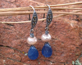 Kyanite and Moonstone Earrings and Marcasite French Ear Wires - Sterling Silver