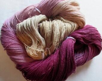 Handpainted Yarn - 4/2 Soft Cotton Yarn  VANILLA ROSE