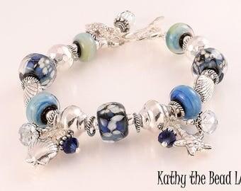 Lampwork Bracelet - Lampwork Blue Seashell Karen Hill Tribe Silver Bead Bracelet - KTBL