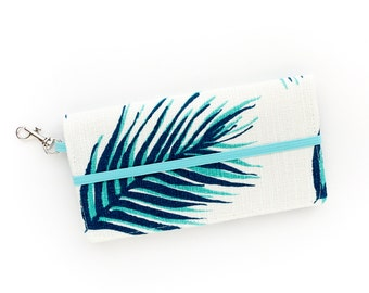 iPhone Cell Phone Wallet - Turquoise Palm Leaf Print - Custom Cell Phone Case - Smart Phone Wallet